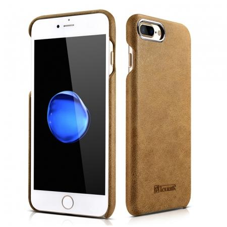 ICARER Metal Warrior Shenzhou Real Leather Back Case Cover for iPhone 7 Plus 5.5 inch - Brown
