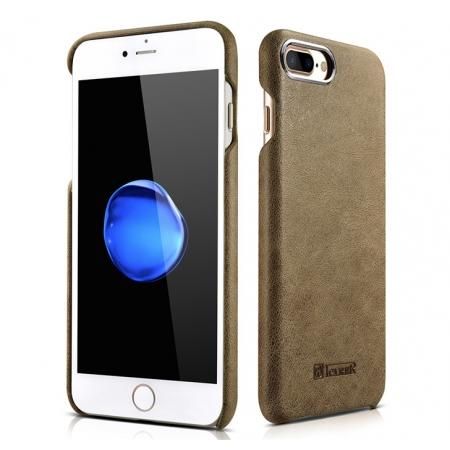 ICARER Metal Warrior Shenzhou Real Leather Back Case Cover for iPhone 7 Plus 5.5 inch - Khaki