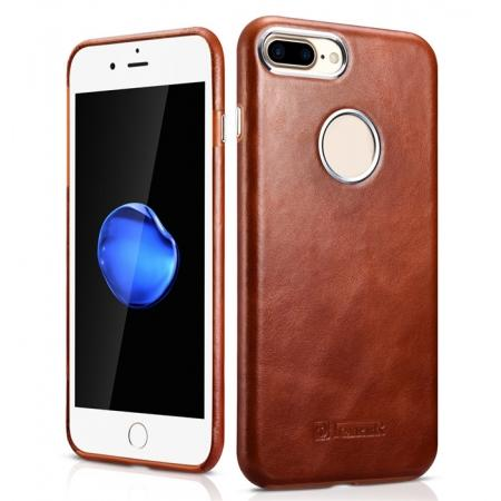 ICARER Vintage Real Genuine Leather Back Case Cover for iPhone 7 Plus 5.5 inch - Brown