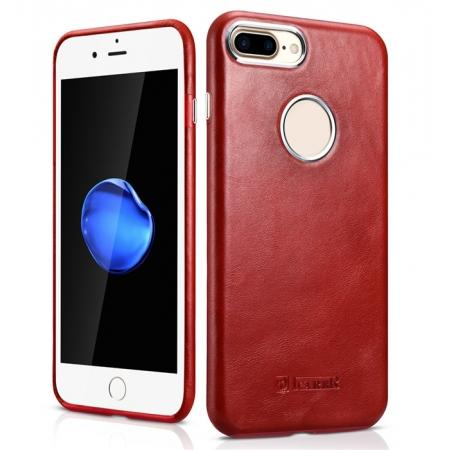 ICARER Vintage Real Genuine Leather Back Case Cover for iPhone 7 Plus 5.5 inch - Red