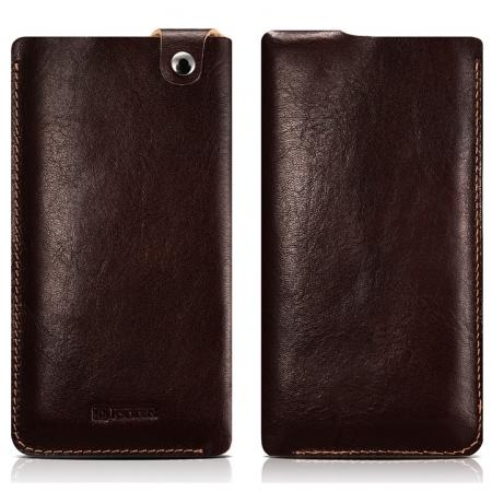 ICARER Vegetable Tanned Leather 5.5inch Straight Leather Pouch for iPhone 7 Plus - Coffee