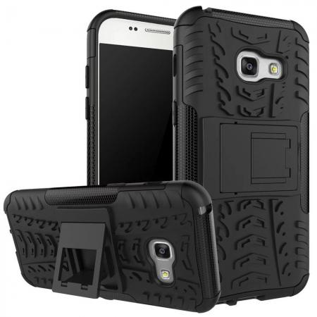 Shockproof Armor Kickstand Hybrid Protective Cover Case For Samsung Galaxy A7 (2017)  - Black