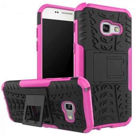 Shockproof Armor Kickstand Hybrid Protective Cover Case For Samsung Galaxy A7 (2017)  - Hot pink