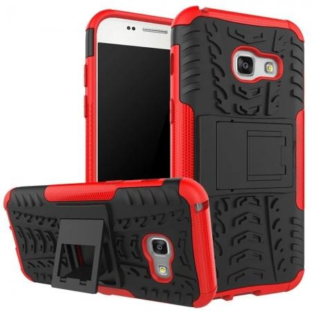 Shockproof Armor Kickstand Hybrid Protective Cover Case For Samsung Galaxy A7 (2017)  - Red