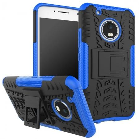 Tough Rugged Dual Layer Shockproof Kickstand Protective Case for Motorola Moto G5 Plus - Blue