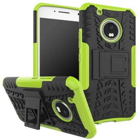 Tough Rugged Dual Layer Shockproof Kickstand Protective Case for Motorola Moto G5 Plus - Green