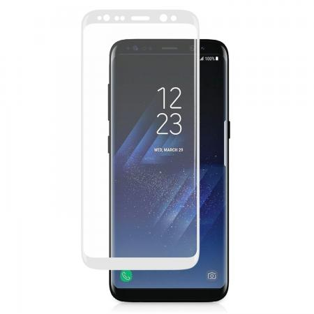 3D Curved Edge Ultra Clear Full Coverage 9H Hardness Tempered Glass Screen Protector for Samsung Galaxy S8+ Plus - White