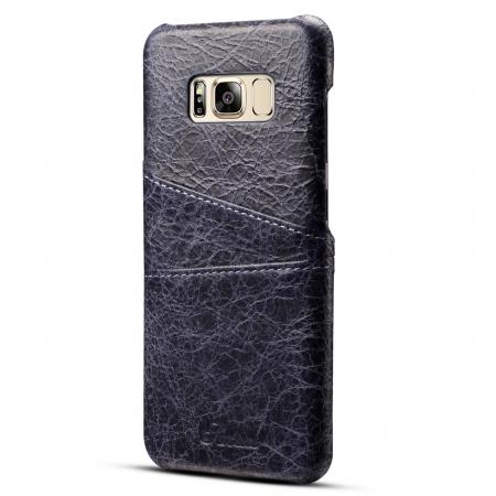 Credit Card Slot Pocket Genuine Leather Case Back Cover For Samsung Galaxy S8+ Plus - Dark Blue