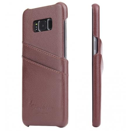 Genuine Leather Back Cover Case with 2 Credit Card ID Slots Holders for Samsung Galaxy S8+ Plus - Brown