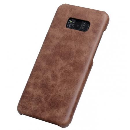 Genuine Leather Matte Back Hard Case Cover for Samsung Galaxy S8 Plus - Coffee