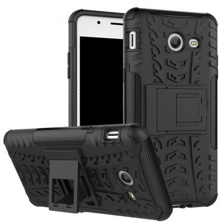 Hybrid Dual Layer Armor Defender Kickstand Protective Case for Samsung Galaxy J5 (2017) - Black