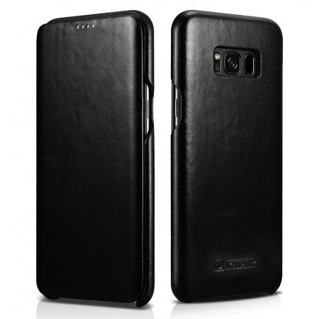 ICARER Curved Edge Vintage Series Cowhide Leather Side open Flip Folio Protective Case Cover for Samsung Galaxy S8+ Plus - Black