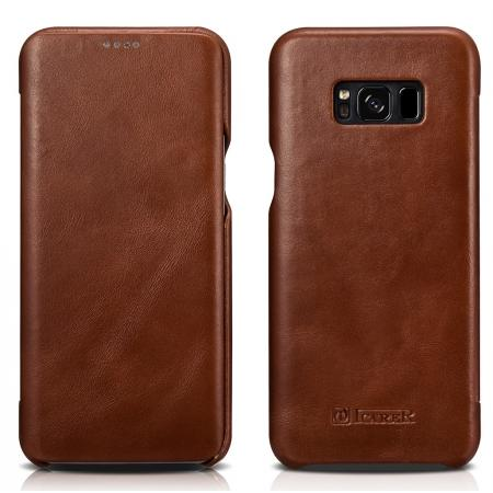 ICARER Curved Edge Vintage Series Cowhide Leather Side open Flip Folio Protective Case Cover for Samsung Galaxy S8+ Plus - Brown