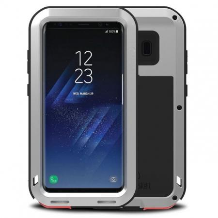 Metal Extreme Aluminum Heavy Duty Shockproof Water Resistant Dust/Dirt/Snow Proof Case for Samsung Galaxy S8 Plus - Silver