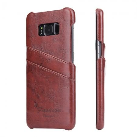 Oil Wax Pu Leather Credit Card Holder Back Case Cover for Samsung Galaxy S8 Plus - Brown