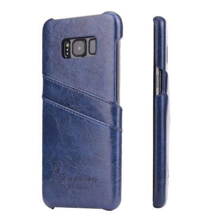 Oil Wax Pu Leather Credit Card Holder Back Case Cover for Samsung Galaxy S8 Plus - Dark Blue
