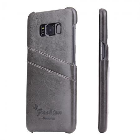 Oil Wax Pu Leather Credit Card Holder Back Case Cover for Samsung Galaxy S8 Plus - Grey