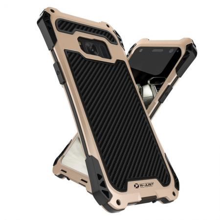 R-just Powerful Anti-drop Shockproof Dirt Proof Metal Aluminum Cover Case for Samsung Galaxy S8+ Plus - Black&Gold