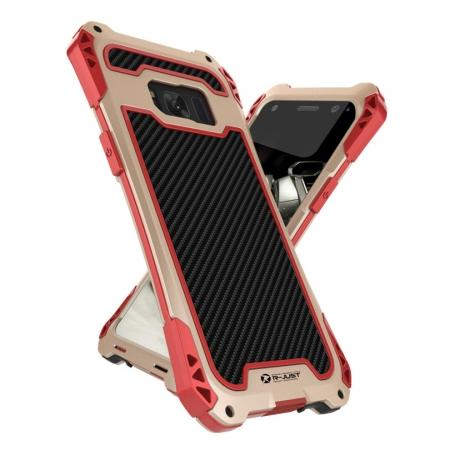 R-just Powerful Anti-drop Shockproof Dirt Proof Metal Aluminum Cover Case for Samsung Galaxy S8+ Plus - Red&Gold