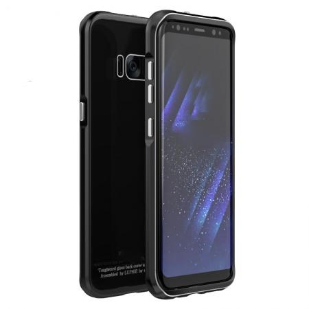 Aluminium Frame+Tempered Glass Back Cover Case for Samsung Galaxy S8 + Plus - Black