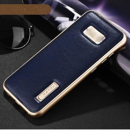 Aluminum Metal Bumper Frame Case with Genuine Leather Back Cover kickstand for Samsung Galaxy S8+ Plus - Gold+Dark Blue