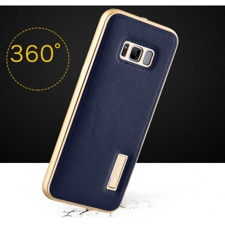 new style acf02 006cb Aluminum Metal Bumper Frame Case with Genuine Leather Back Cover kickstand  for Samsung Galaxy S8+ Plus - Gold+Dark Blue