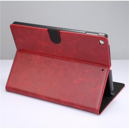 Crazy Horse PU Leather Folio Case Magnetic Closure Smart Cover With Stand For New iPad 9.7 2017 - Wine Red