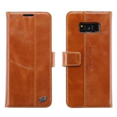 Genuine Leather Wallet Case Credit Card Protector for Samsung Galaxy S8+ Plus - Brown