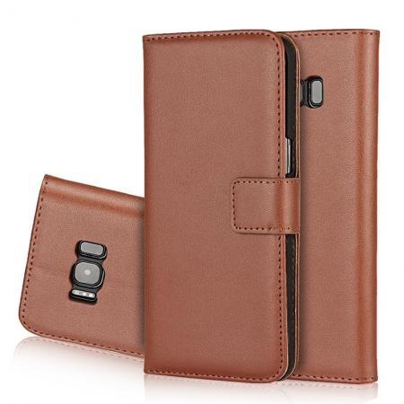 Genuine Leather Wallet Flip Cover Case Card Holder for Samsung Galaxy S8 - Brown