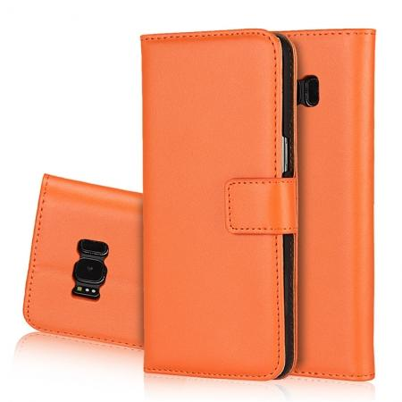 Genuine Leather Wallet Flip Cover Case Card Holder for Samsung Galaxy S8 - Orange