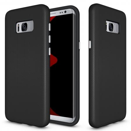 luxury cases for galaxy s8,Hard/TPU Hybrid Dual Layer Shockproof Anti-Slip Armor Case Cover for Samsung Galaxy S8 - Black