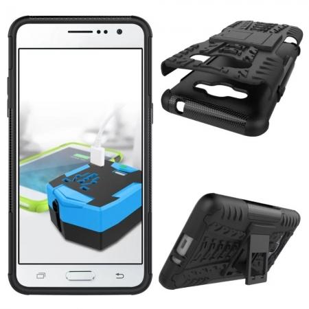 ... Hybrid TPU Hard Shockproof Cover Case Kickstand for Samsung Galaxy J2 Prime - Black