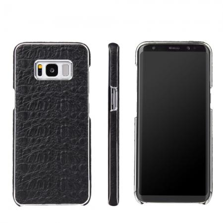 Luxury Genuine Leather Crocodile Grain Back Covers Cases For Samsung Galaxy S8+ Plus - Black
