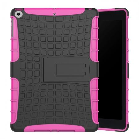 Rugged Armor Shockproof Dual Layer Protective Kickstand Case For Apple iPad 9.7 (2017) - Hot pink