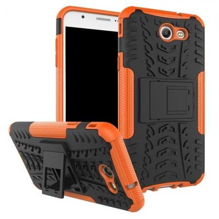 Shockproof Protection Dual Protective Armor Case Cover with Kickstand for Samsung Galaxy J7 Prime 2017 - Orange