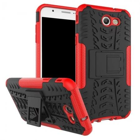 Shockproof Protection Dual Protective Armor Case Cover with Kickstand for Samsung Galaxy J7 Prime 2017 - Red