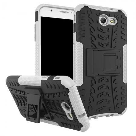Shockproof Protection Dual Protective Armor Case Cover with Kickstand for Samsung Galaxy J7 Prime 2017 - White