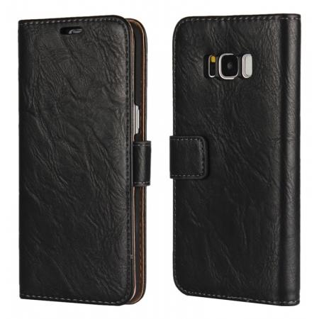 Tree Texture PU Leather Wallet Case with Card Slots for Samsung Galaxy S8+ Plus - Black