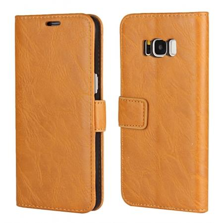 Tree Texture PU Leather Wallet Case with Card Slots for Samsung Galaxy S8+ Plus - Brown