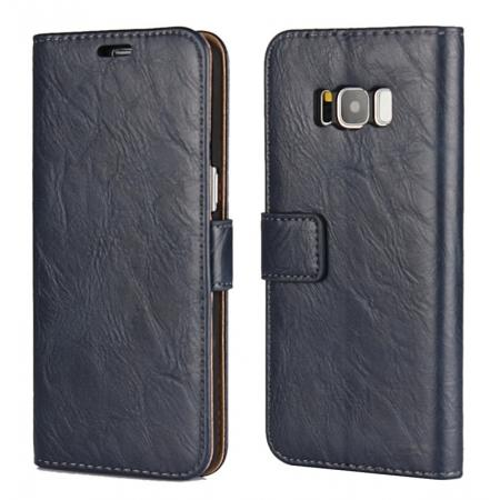 Tree Texture PU Leather Wallet Case with Card Slots for Samsung Galaxy S8+ Plus - Navy Blue