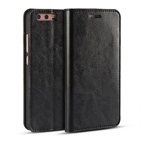 Crazy Horse Genuine Leather Flip Wallet Case for Huawei P10 Plus - Black