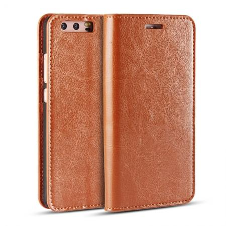 Crazy Horse Genuine Leather Flip Wallet Case for Huawei P10 Plus - Brown