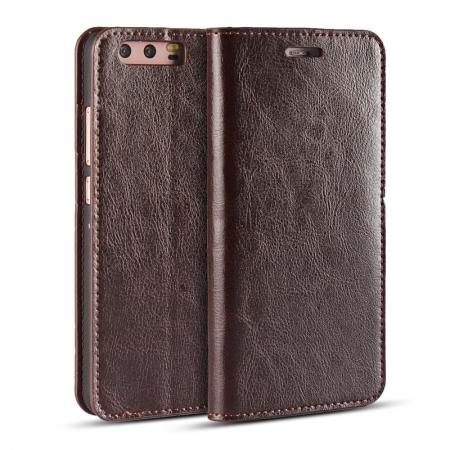 Crazy Horse Genuine Leather Flip Wallet Case for Huawei P10 Plus - Coffee