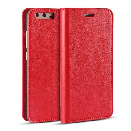 Crazy Horse Genuine Leather Flip Wallet Case for Huawei P10 Plus - Red