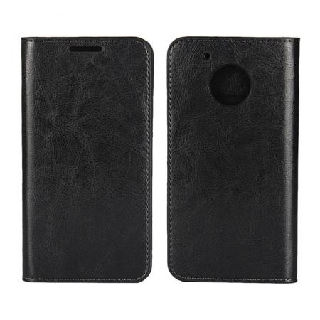 Crazy Horse Genuine Leather Wallet Case Stand For Motorola Moto G5 - Black