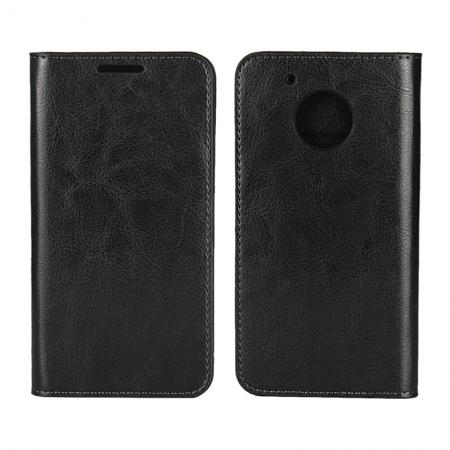 Crazy Horse Genuine Leather Wallet Case Stand For Motorola Moto G5 Plus - Black