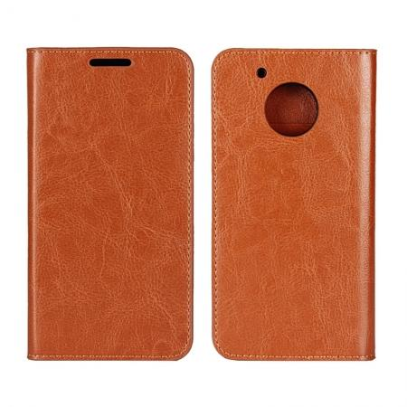 Crazy Horse Genuine Leather Wallet Case Stand For Motorola Moto G5 Plus - Brown
