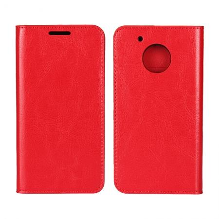 Crazy Horse Genuine Leather Wallet Case Stand For Motorola Moto G5 Plus - Red