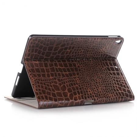 Crocodile Folio Flip Leather Stand Case Cover for iPad Pro 10.5-inch - Brown