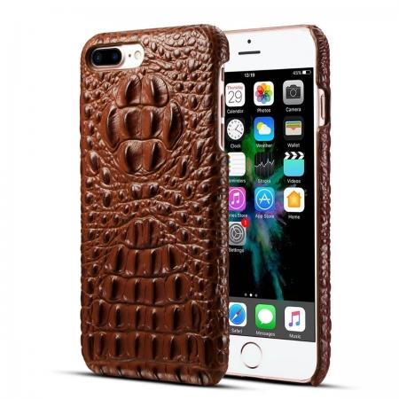 Crocodile Head Pattern Genuine Cowhide Leather Back Cover Case for iPhone 7 Plus 5.5 inch - Brown